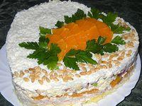 Салат слоеный со скумбрией
