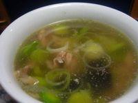 Суп с куриным сердцем и шпинатом